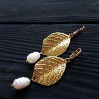 Серьги с натуральным жемчугом позолоченные застежки