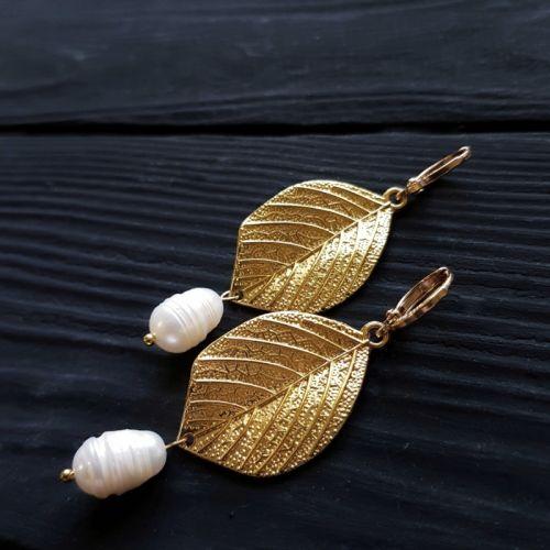 Сережки з натуральними перлами позолочені застібки