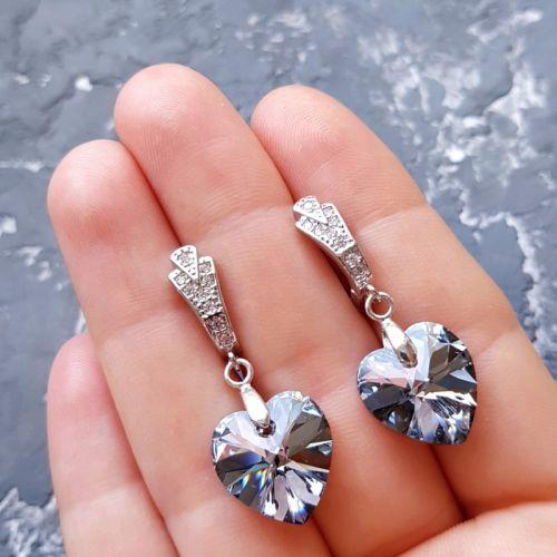 Сережки з кристалами Swarovski медичний сплав з цирконами