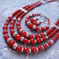 """Комплект """"Коло"""" намисто, браслет, сережки зі срібними застібками"""