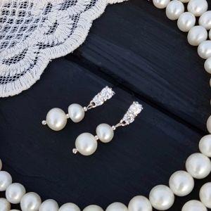 Сережки з натуральних перлів з кристалами