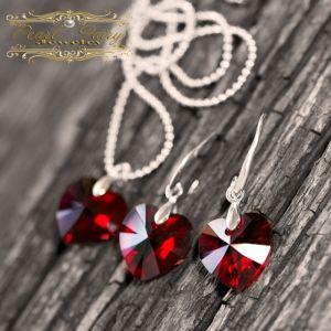 Срібний комплект з кристалами Swarovski серце