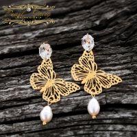 Серьги с бабочками, натуральным жемчугом и кристаллами