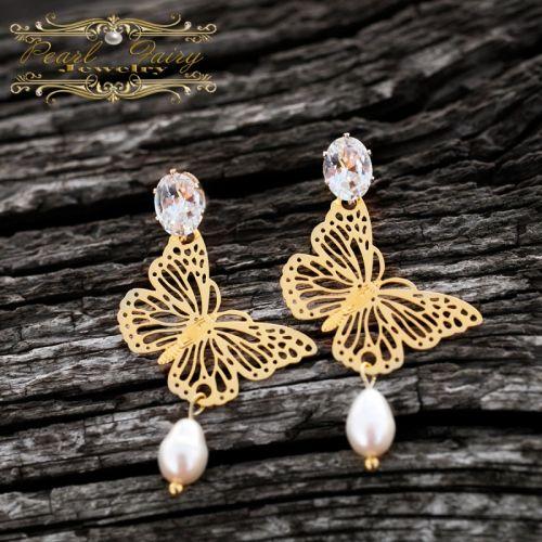 Сережки з метеликами, натуральними перлами і кристалами