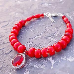 Червоний браслет Браслет з натуральними коралами у сріблі 925 проби