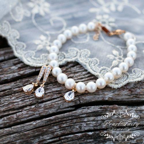 Комплект натуральні перли і позолота браслет і сережки