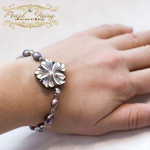 Браслет из натурального жемчуга, цветы перламутра, кристаллов - изображение 1