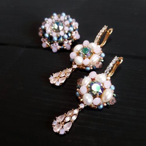 Комплект сережки та брошка чи перстень з кристалами Swarovski