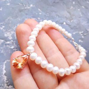 """Браслети ручної роботи Браслет з натуральних перлів з підвіскою крапля """" Топаз """""""