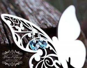 Серьги из серебра Серебряные серьги с Swarovski hearts кристаллами различные цвета