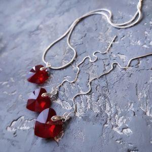 Гармаш Елена Комплект с кристаллами Swarovski  сердце в серебре