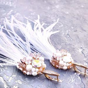 Серьги ручной работы Позолоченные серьги с натуральным жемчугом и кристаллами