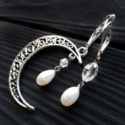 Асимметричные серьги с жемчугом и застежки в серебре