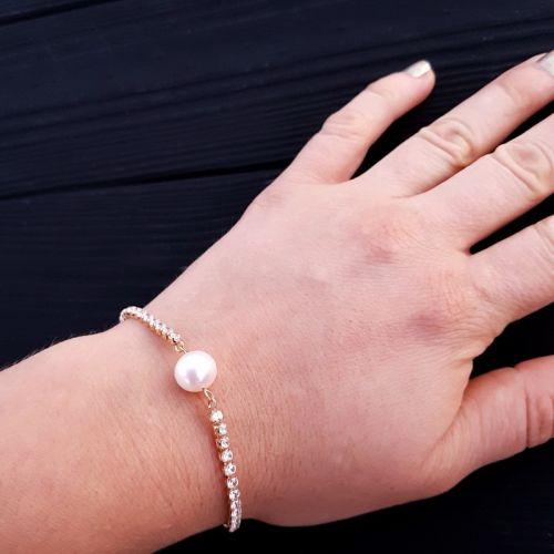 Браслет позолочений з натуральною білою перлиною