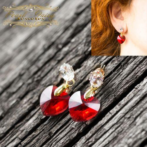 Сережки Серце кристали Swarovski кольору Red Shimmer