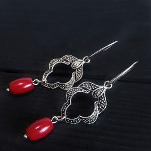 Earrings Сережки з натуральними коралами та срібними застібками