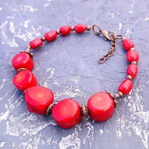 Червоний браслет Браслет з натуральних коралів різних форм