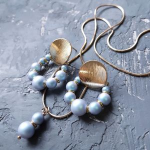Jewelry sets Комплект з перлів  Swarovski  сережки і кулон на ланцюжку