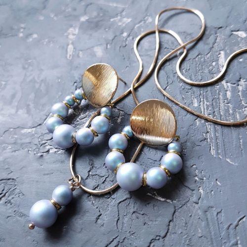 Комплект з перлів  Swarovski  сережки і кулон на ланцюжку