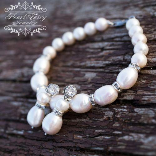 Большие роскошные белые натуральный жемчуг браслет и серьги - изображение 1