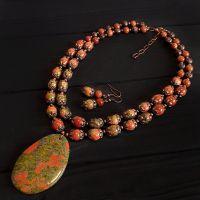 Комплект з натуральної яшми і золотого авантюрину кольє сережки