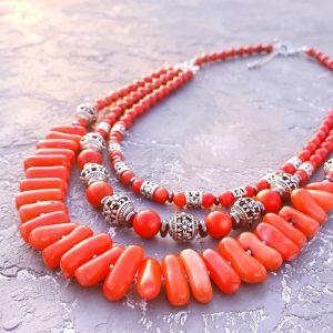 Ожерелье из кораллов Колье коралловое цвета лосось трехрядное стильное этно