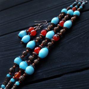 АртБутик Комплект браслет и серьги с камнями и кристаллами