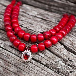 Ожерелье из натуральных кораллов и серебра 925 пробы