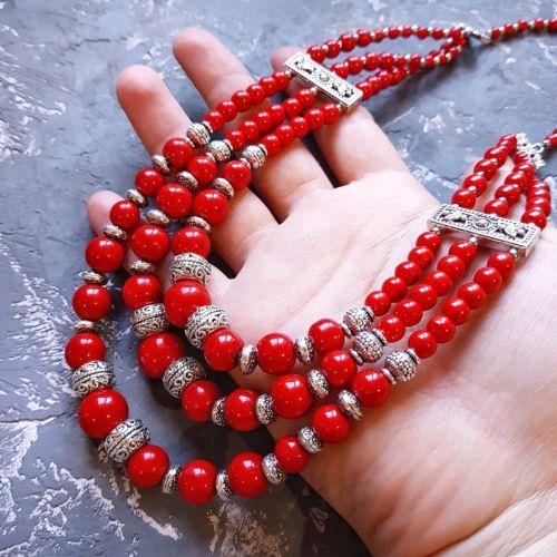 """Ожерелье трехрядное красное """"Круг любви"""""""