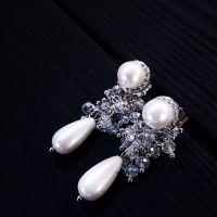 Сережки з перлами Майорки та кристалами медична сталь