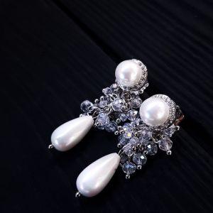 Серьги с жемчугом Серьги с жемчугом Майорка и кристаллами