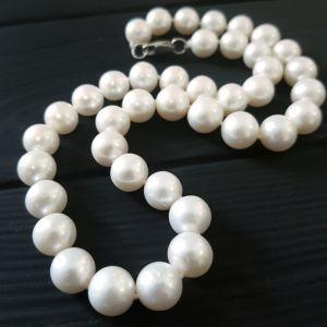 Ожерелье из жемчуга Бусы из натурального белого жемчуга с серебряной застежкой