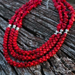 Ожерелье из коралла Ожерелье из натуральных кораллов трехрядное