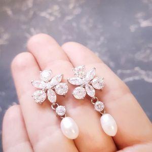 Гармаш Олена Сережки з натуральними перлами медична сталь