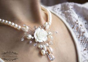 Колье с жемчугом Свадебное колье натуральный жемчуг и кристаллы