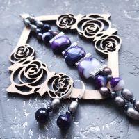 Весняна колекція комплект з натуральних перлів та кварцу