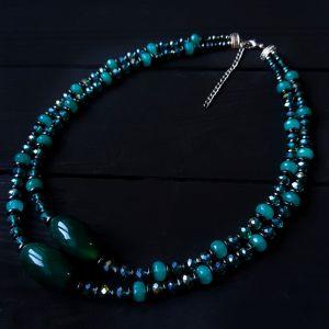 "Колье из кварца Колье из натурального кварца и кристаллов двухрядное ""Red Sea"""