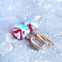 Позолоченные сережки с кристаллами Swarovski  сердце
