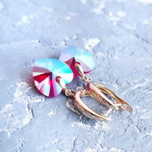Гармаш Елена Позолоченные сережки с кристаллами Swarovski  сердце