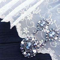 Комплект сережки та браслет вишивка перлами, кристалами