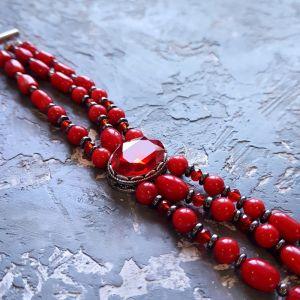 Червоний браслет Браслет з натуральних коралів та гематиту з кристалом