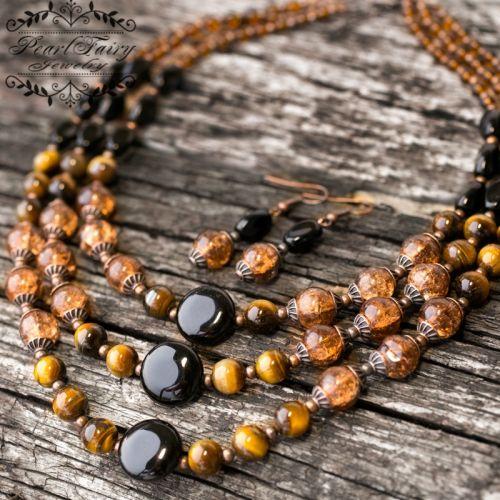 Комплект з натуральних каменів та венеціанських намистин