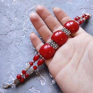 Червоний браслет Браслет з коралів дворядний червоний