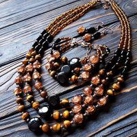 Комплект тройка натуральные камни, венецианские бусины