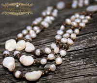 Ожерелье из натурального жемчуга колье в стиле бохо