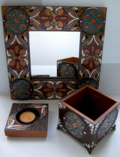 Комплект Восточный (зеркало+шкатулка+подсвечник)