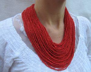 """Ожерелье из бисера Ожерелье """"Яркое красное"""""""