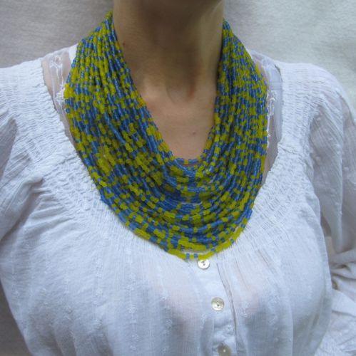 """Ожерелье """"Крупное желто-голубое"""""""