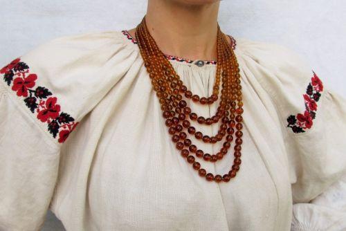 """Ожерелье стеклянное """"Янтарь"""""""