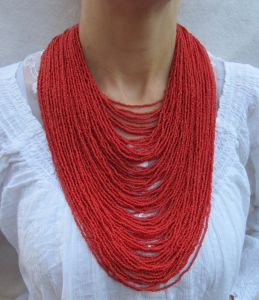 """Ожерелье из бисера Ожерелье из бисера """"Яркое красное большое"""""""